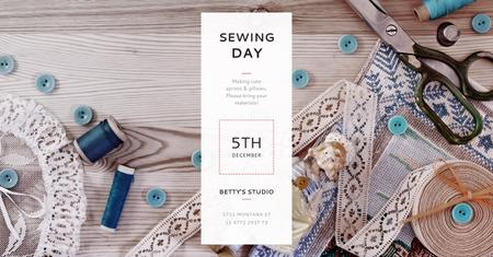 Modèle de visuel Sewing day event Annoucement - Facebook AD