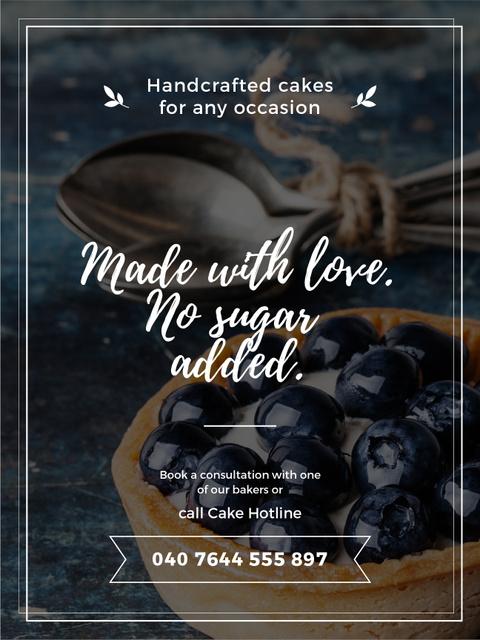 Bakery Ad with Blueberry Tart Poster US Tasarım Şablonu
