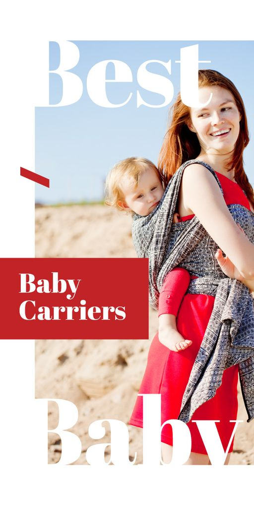 Happy mother with kid in carrier Graphic – шаблон для дизайну