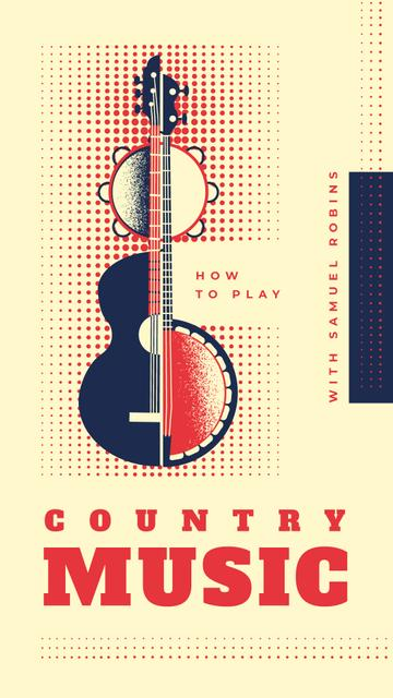 Guitar and tambourine instruments Instagram Story Design Template