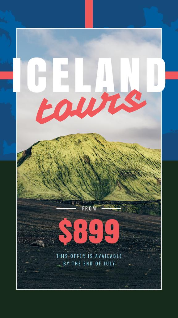 Iceland Tours Offer with Scenic Mountains Landscape | Stories Template — Crear un diseño