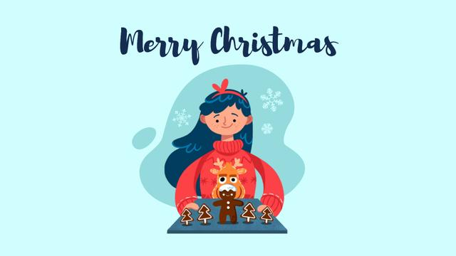Girl with Christmas ginger cookies Full HD video Modelo de Design