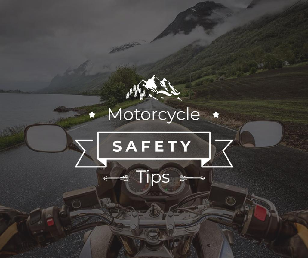 Szablon projektu Motorcycle safety tips with Bike on road Facebook