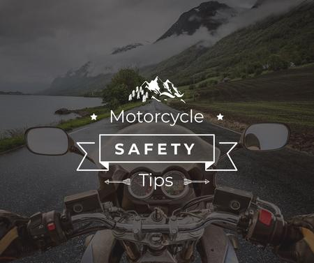 Motorcycle safety tips with Bike on road Facebook Design Template