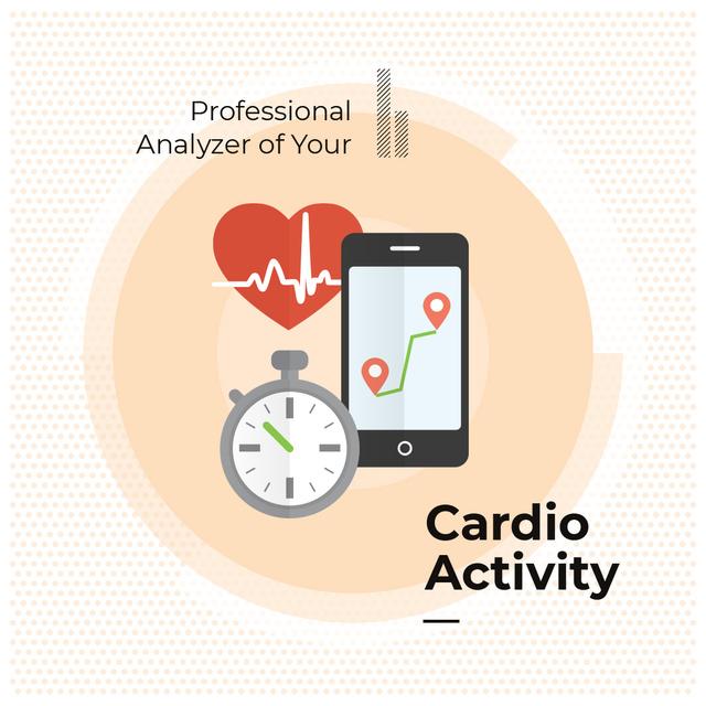Ontwerpsjabloon van Instagram AD van Application for cardio activity monitoring