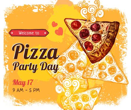 Modèle de visuel Pizza Party Day promotion - Facebook