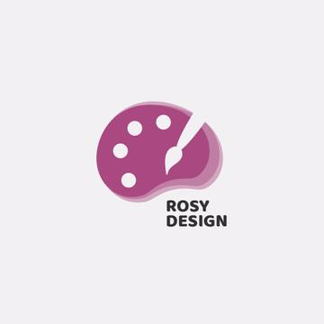 Design Studio Ad Paint Brush and Palette in Pink | Logo Template