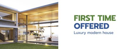 Luxury Homes Offer with modern building Facebook cover Modelo de Design