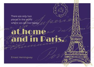 Paris Travelling Inspiration Eiffel Tower | Postcard Template