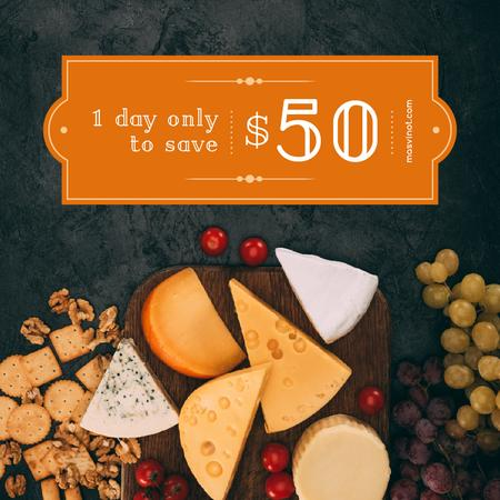 Template di design Food Offer Cheese on Cutting Board Instagram AD