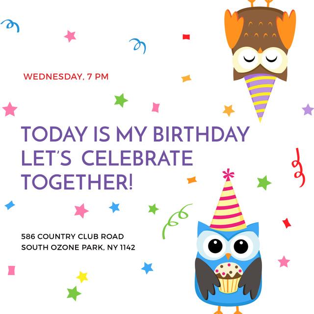 Birthday party Invitation with Cute Owls Instagram – шаблон для дизайну