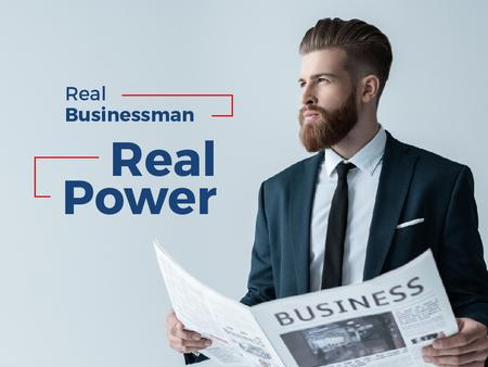 Ontwerpsjabloon van Presentation van Handsome Businessman holding newspaper