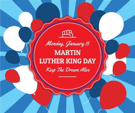 Modèle de visuel Martin Luther King Day Greeting with balloons - Facebook