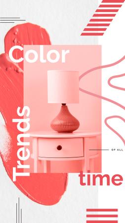 Cozy interior in pink colors Instagram Story – шаблон для дизайну