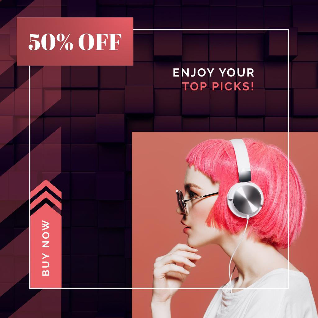 Electronics Offer Woman in Headphones on Pink — Створити дизайн