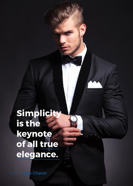 Ontwerpsjabloon van Invitation van Elegance Quote Businessman Wearing Suit