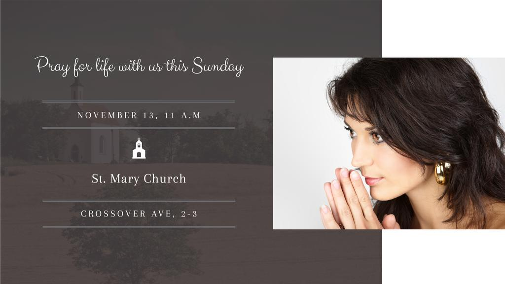 Church invitation with Woman Praying — Maak een ontwerp