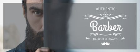 Ontwerpsjabloon van Facebook cover van Authentic Barbershop advertisement