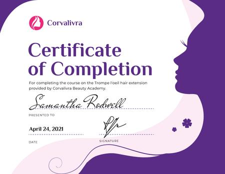 Beauty Academy Courses Completion confirmation Certificate Design Template