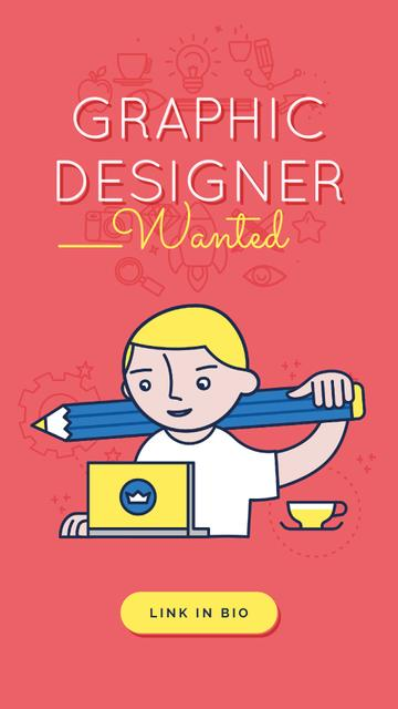 Plantilla de diseño de Graphic Designer Working on Laptop in Red Instagram Video Story