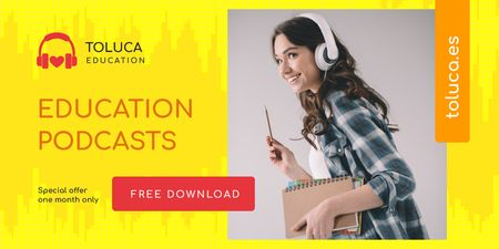 Education Podcast Ad with Woman in Headphones Twitter Modelo de Design