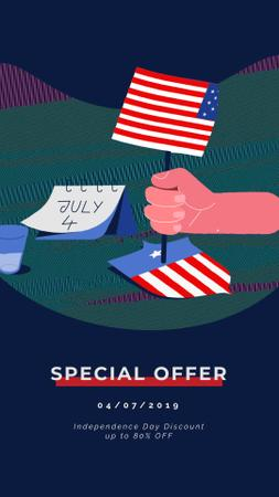 Usa Independence Day Hand Waving Flag Instagram Video Story Design Template