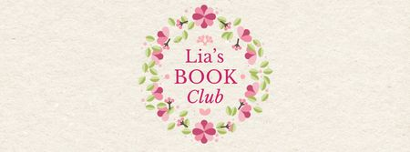 Plantilla de diseño de Book club promotion in Circle frame with flowers Facebook Video cover
