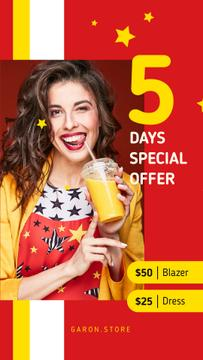 Clothes Offer Smiling Woman with Cup To-Go