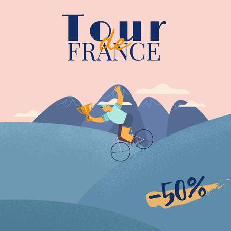Tour de France with Cyclists with Trophy Cup Animated Postデザインテンプレート