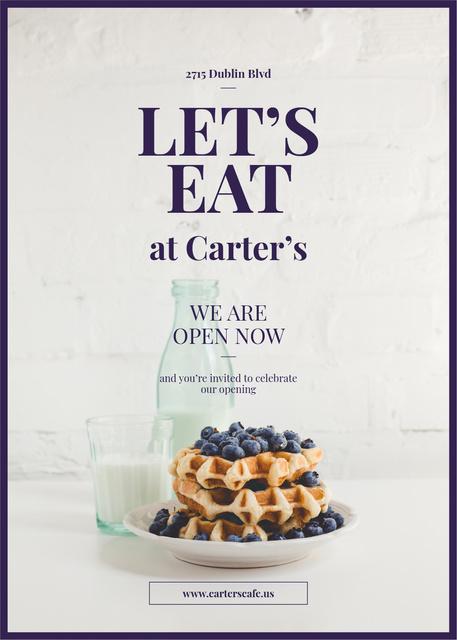 Ontwerpsjabloon van Invitation van Waffles with berries and milk