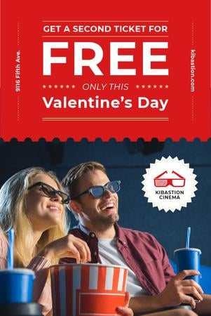 Designvorlage Valentine's Day with Couple in Cinema für Pinterest
