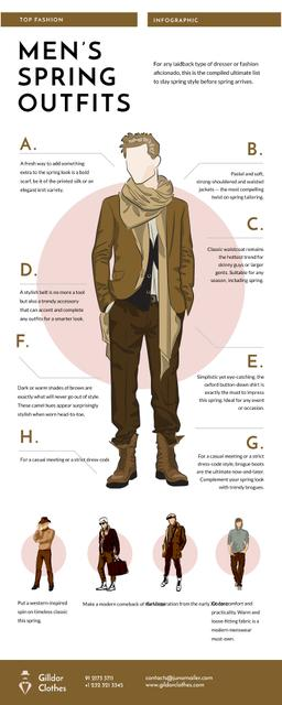 List infographics with Men's Outfit items Infographicデザインテンプレート