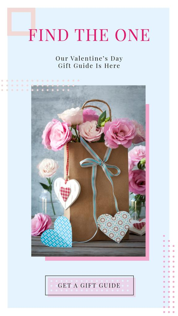 Paper Gift bag with Roses and Colorful Hearts — Créer un visuel