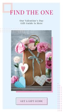 Paper bag with flowers and hearts