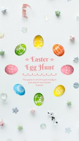 Easter Greeting Colored Eggs Frame Instagram Video Story Design Template