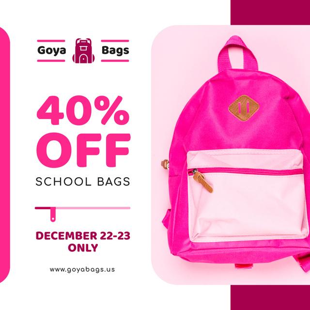 Ontwerpsjabloon van Instagram van School Bags Offer Pink Backpack