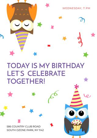 Template di design Birthday party Invitation with cute Owls Poster