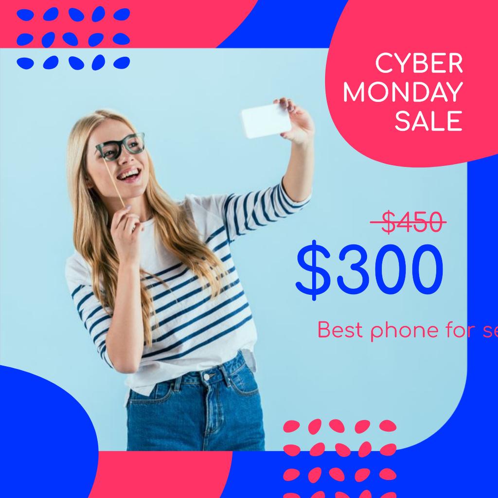 Plantilla de diseño de Cyber Monday Sale Girl Taking Selfie Instagram AD