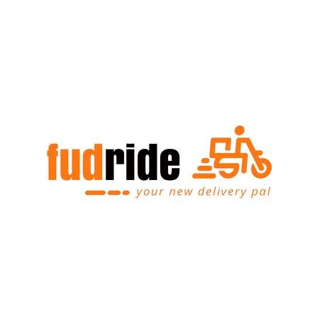 Delivery Services with Courier on Scooter Logo Tasarım Şablonu