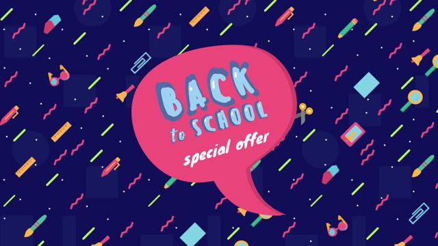Ontwerpsjabloon van Full HD video van Back to school doodles with speech bubble