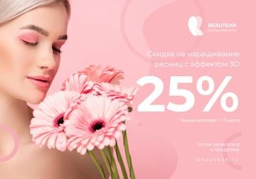Women's Day Eyelash Extensions Offer with Woman in pink