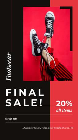 Template di design Black Friday Ad Female legs in rubber shoes Instagram Story