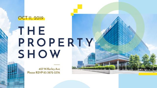 Plantilla de diseño de Real Estate Event announcement modern glass Buildings FB event cover