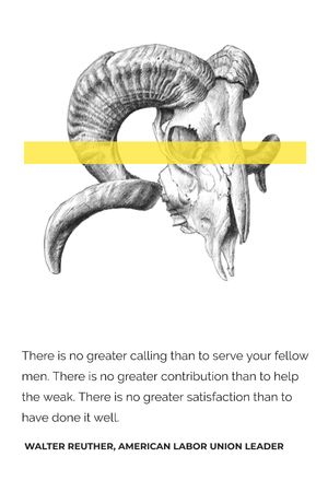 Volunteer Work Quote with animal Skull Tumblr Modelo de Design