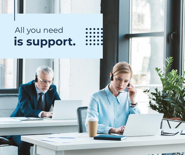 Plantilla de diseño de Customers Support Team Working in Headsets Facebook