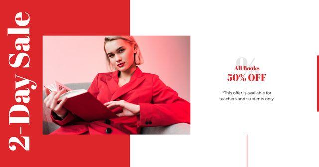 Designvorlage Book Offer with Girl reading für Facebook AD