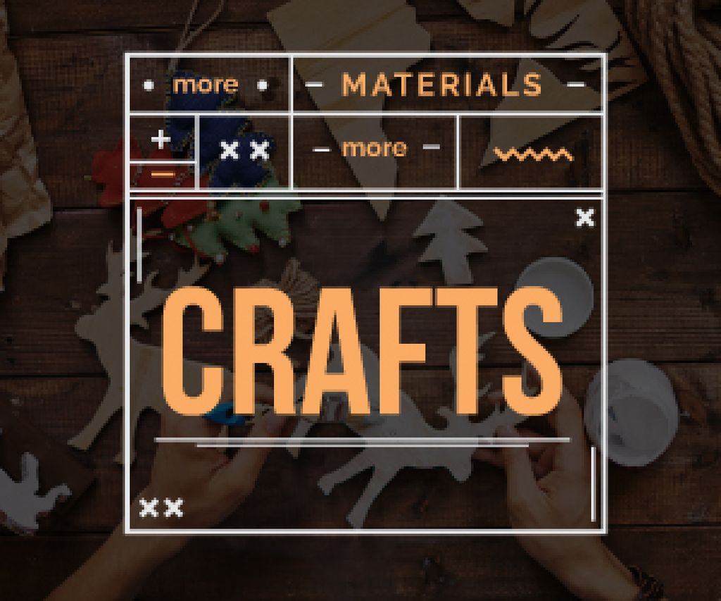 more materials more crafts banner for handmade workshop — Crear un diseño