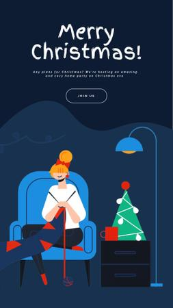 Plantilla de diseño de Christmas Greeting Woman Knitting by Tree Instagram Video Story