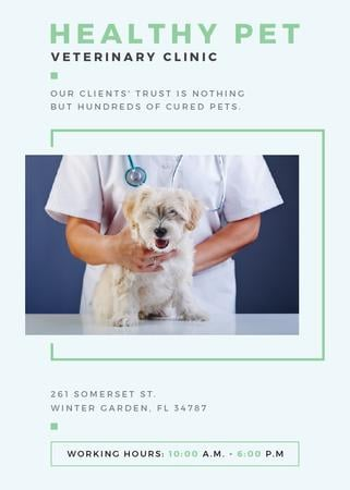Modèle de visuel Vet Clinic Ad Doctor Holding Dog - Flayer
