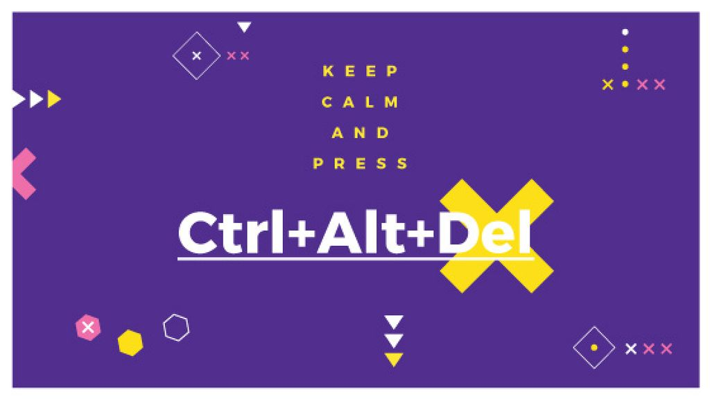 keep calm and press Ctrl+Alt+Delete purple poster — Create a Design